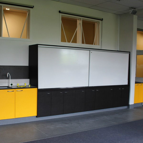 Whangarei Girls High School Sliding whiteboard storage unit